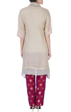 Beige cowl top with polka dot pant