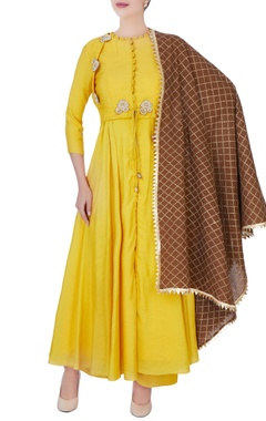 mustard yellow embroidered palazzo set