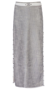 Silver side slit long skirt