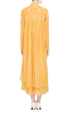 Mango yellow double layered midi dress