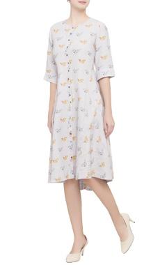 Grey bird motif printed dress