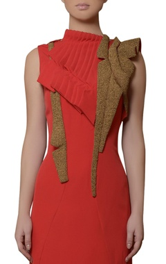 coral red bead work gown