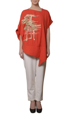 coral red embroidered tunic & pants