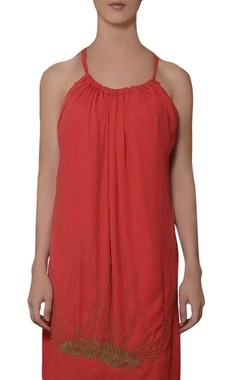 coral red hand embroidered dress