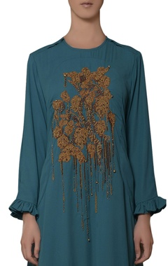 blue hand embroidered dress