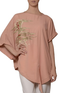 peach hand embroidered blouse