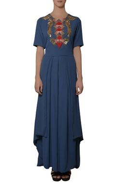 blue embroidered kurta & palazzos