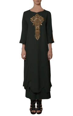 green hand embroidered dress