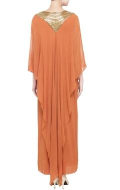 orange draped dress with embellished yoke