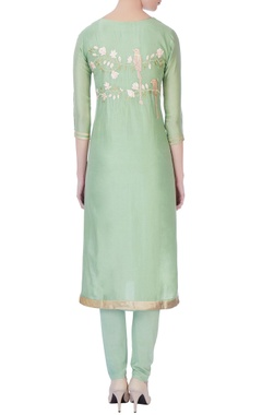 light green embroidered kurta set