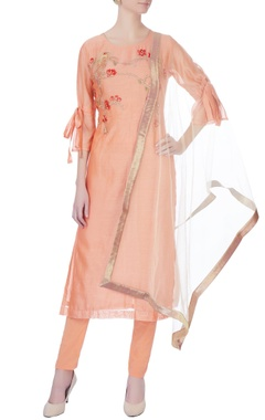 peach machine embroidered kurta set