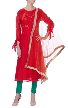 red chanderi embroidered kurta set