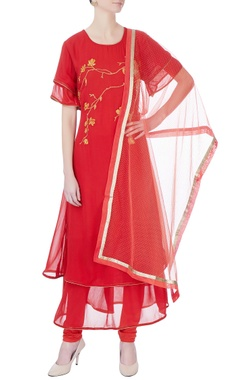 red double layer kurta set