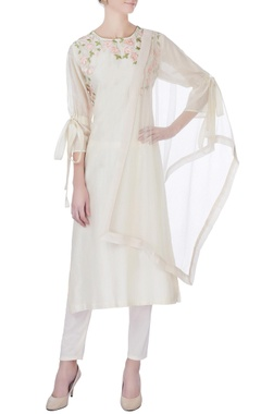 beige chanderi kurta set