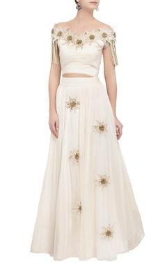 ivory off shoulder tassel blouse & lehenga