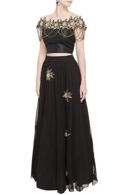 black raw silk blouse & flared lehenga