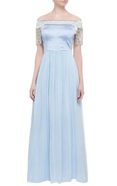english blue tassel gown