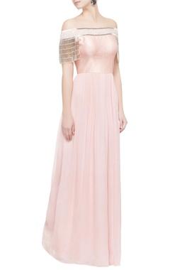 light pink off shoulder tassel gown