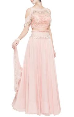 pink net blouse with draped lehenga