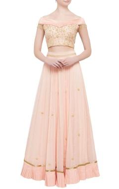 peach pleated lehenga & off-shoulder blouse