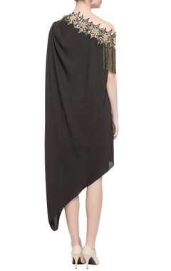 black one-shoulder georgette silk dress