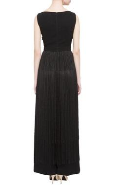 Black embroidered tassel jumpsuit