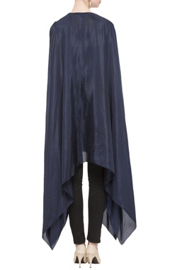 blue asymmetric silk cape