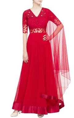 red sequin embellished anarkali set