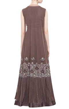 brown anarkali with jacket