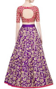 Pink blouse with purple lehenga & dupatta