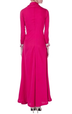 Pink trench coat style anarkali