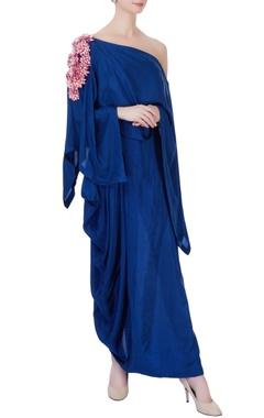 Blue silk draped dress