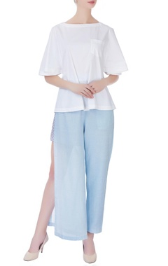 sky blue high slit trousers