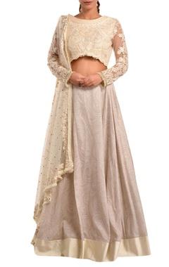 White lehenga with blouse & dupatta