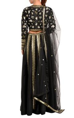 black sequin lehenga set