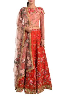 red lehenga in floral embroidery & pearls