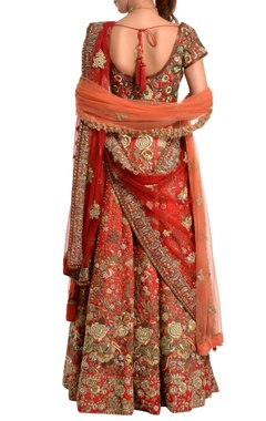 red floral bridal lehenga set