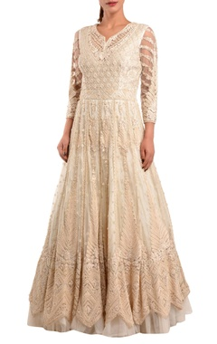White embroidered pearl gown