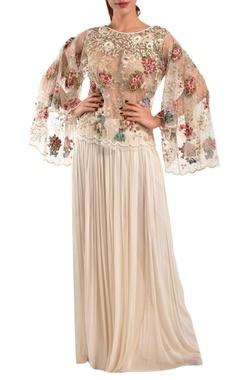 White silk net top & farsi pants