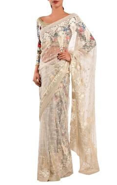 Varun Bahl White net sari & dupion floral blouse