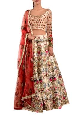 pink floral silk lehenga set