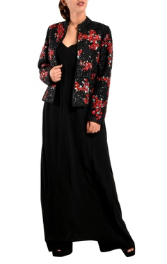 black georgette long kurta & jacket