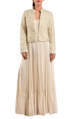 White gown with embroidered jacket
