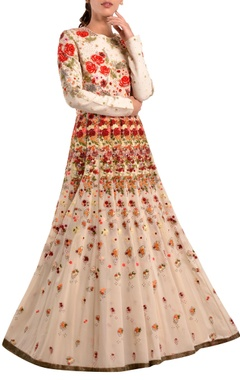 Multicolored floral embroidered gown