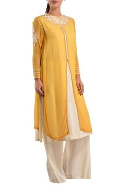 Yellow & white double layer kurta