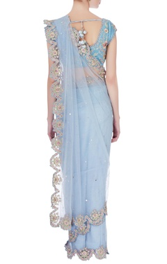 sky blue embellished sari & wrap blouse