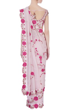 pink victorian rose embroidered sari & blouse