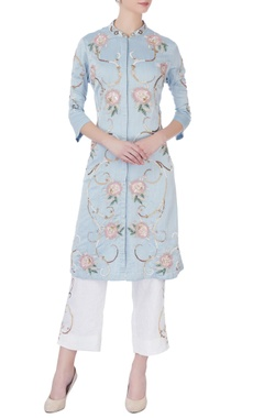 sky blue applique embellished kurta