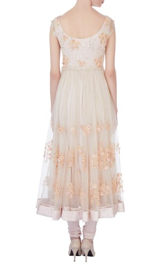 white chantily lace anarkali set