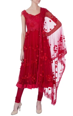 red floral embroidered anarkali set